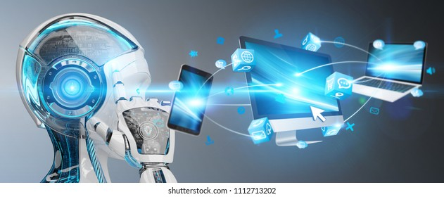 White cyborg on blurred background connecting devices together 3D rendering