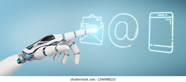 White cyborg on blurred background using thin line contact icon