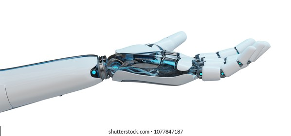 White cyborg opening his hand isolated on white background 3D rendering
