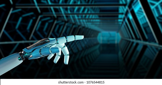 White cyborg pointing his finger on spaceship background 3D rendering