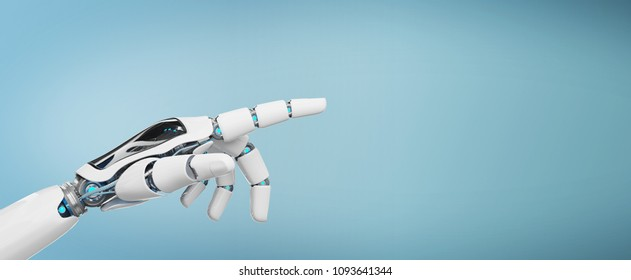 White cyborg pointing his finger isolated on blue background 3D rendering