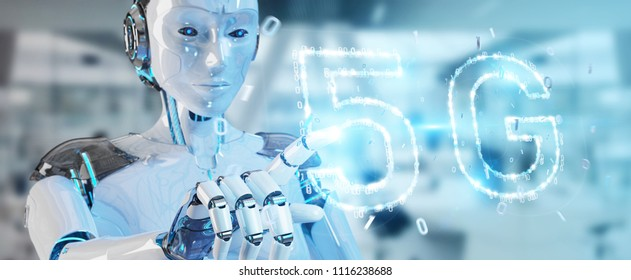 White cyborg woman on blurred background using 5G network digital hologram 3D rendering