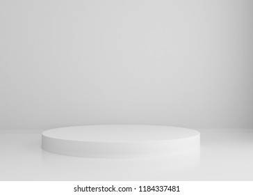 White cylinder podium on white background for design, 3d render