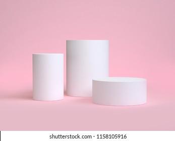 white cylinder shape minimal pink scene 3d rendering