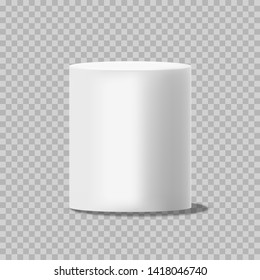 White cylinder. Solid circular box pillar or stand empty can template isolated on background