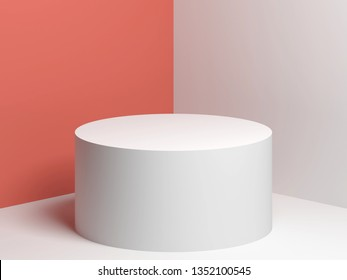 White cylindrical podium over pink and white walls background, 3d render illustration