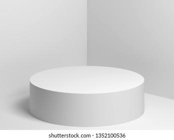 White cylindrical podium stands in empty corner, 3d render illustration