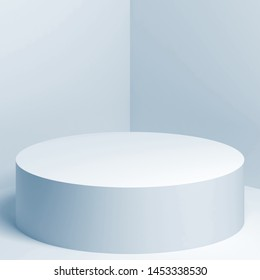 White cylindrical podium stands in empty corner, blue toned 3d rendering illustration