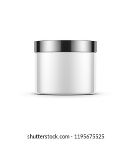 White cylindrical tin can jar mockup for cosmetics with chrome cap, 3d rendering