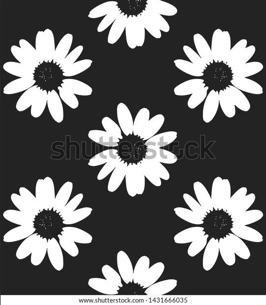 white daisies seamless pattern on dark background. It can be used as wallpaper, wrapping paper, textile print.