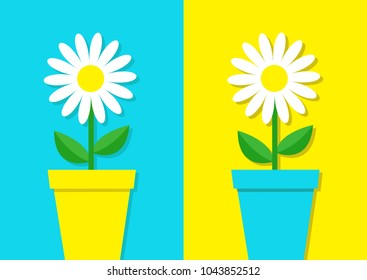 White Daisy Chamomile Icon Flower Pot Set Cute Plant Collection Love Card