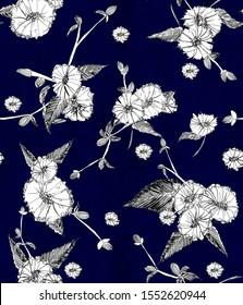 White daisy wildflower over dark blue - Nature seamless pattern. Silhouette hand drawn flowers. Vintage decoration.
