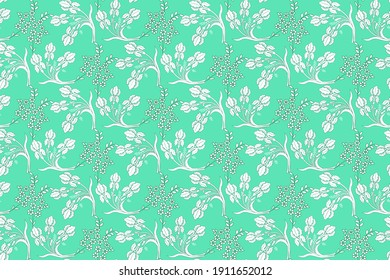 white decorative floral pattern on green background