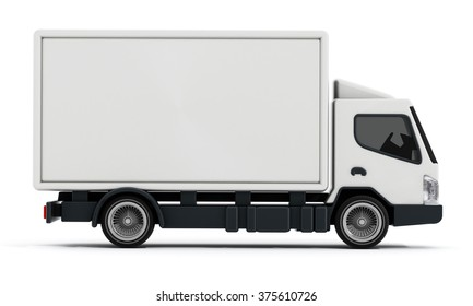 White delivery truck or transportation van isolated on white background