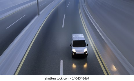 White delivery van on highway. Transport and logistic concept. 3D Illustration.