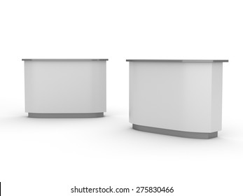 white desk or counter from front and side view. render