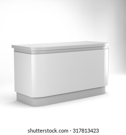 white desk or counter from side view. render