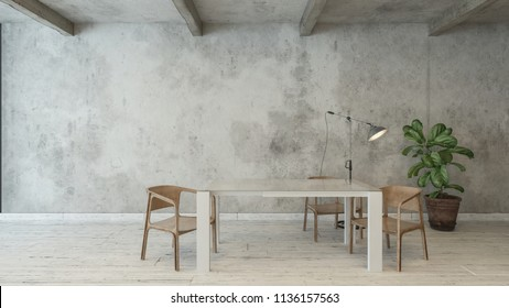 White desk and green potted plant next to wooden chairs and illuminated floor lamp on white hardwood flooring. 3d Rendering