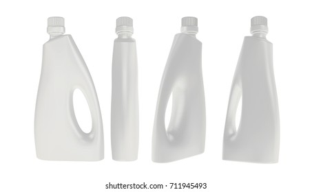 White Detergent Plastic Bottle Jerrycan  Packaging  Mockup for Design Project - Mock Up 3D illustration Isolate on White Background