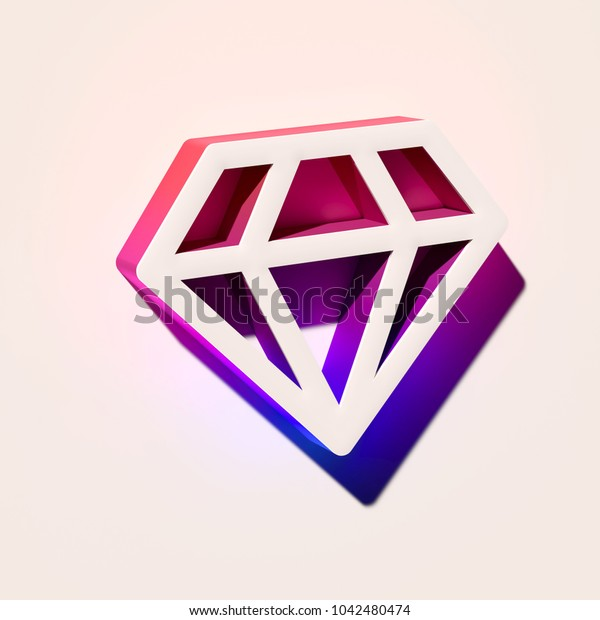 White Diamond Icon. 3D Illustration of White Diamond, Gemstone, Investment, Jewelry Icons With Pink and Blue Gradient Shadows.