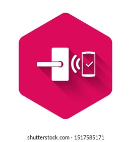 White Digital door lock with wireless technology for unlock icon isolated with long shadow. Door handle sign. Security smart home of concept. Pink hexagon button
