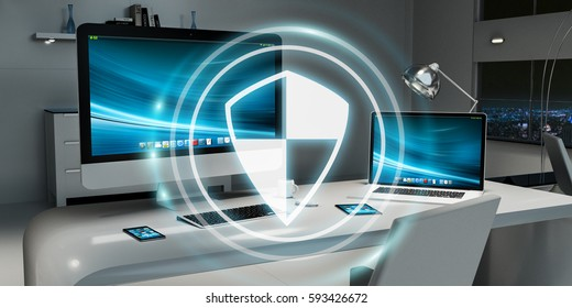 White and digital firewall flying over modern desktop interior 3D rendering