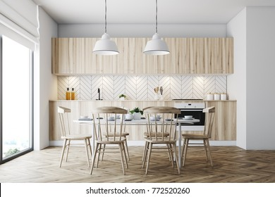 White dining room interior with a panoramic window, a wooden floor and a white table with wooden chairs. 3d rendering mock up