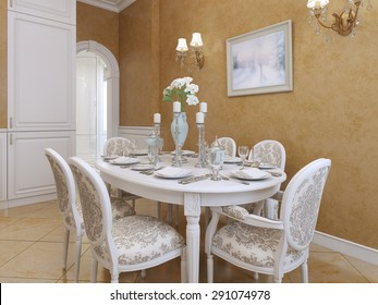 White dining table with six chairs in a classic style. Picture of Orange stolomyu walls Venetian plaster. 3D render.