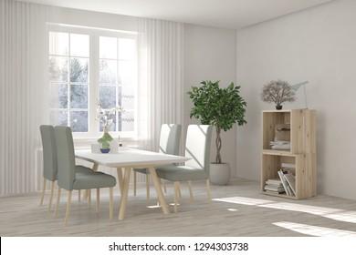 White dinner room with winter landscape in window. Scandinavian interior design. 3D illustration