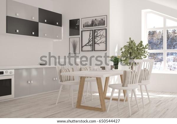 白いディナールームと窓に冬の風景。北欧のインテリアデザイン。3Dイラスト
