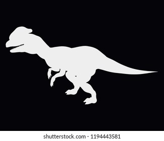 White dinosaur silhouette with crest on black background