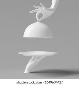 White Dish with lid holding hands isolated, opened restaurant cloche, launch time promo banner concept. 3d rendering