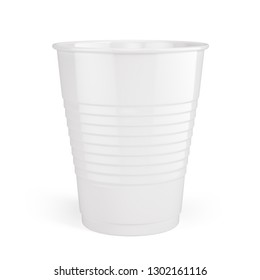 White disposable cups - plastic cup isolated on white. 3d rendering