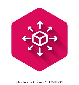 White Distribution icon isolated with long shadow. Content distribution concept. Pink hexagon button