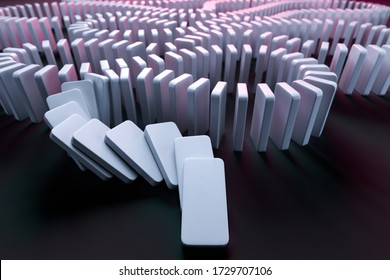 White Domino Pieces Pushing the Domino Effect. Concept Starting or Triggering Process and Dependence From Each Other. Chain Reaction. 3d Rendering