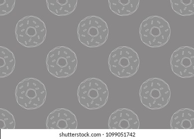 White donuts contour on the gray background