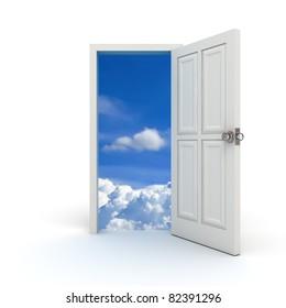 White door to the sky