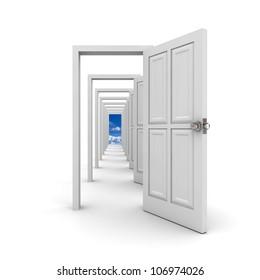 White doors on white background