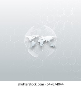 White dotted world globe, connecting lines and dots on gray color background. Chemistry pattern, hexagonal molecule structure, medical research. Medicine, technology concept. Abstract design.