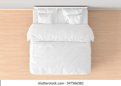 White double bed with white linen in simple interior. 3d render