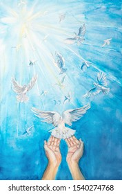 white doves fly away in blue sky, the hand drawn painting of white pigeons in the sky with female hands, the symbol Christianity holy spirit