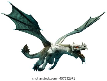 White dragon 3D illustration