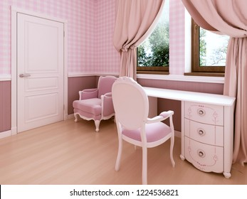 White dressing table in the children's room is a classic style. 3D rendering.