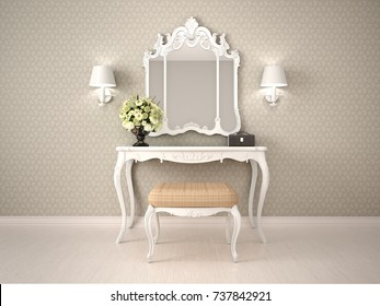 white dressing table with mirror and ottoman. 3d illustrator