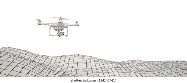 White drone over terrain mesh. Drone flying with action camera. Wire-frame style. Isolated in white background. 3D illustration.