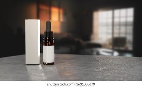 White dropper bottle mockup. CBD pipette bottle mockup. Serum dropper botlle. Vape liquid in brown glass bottle, 3d rendering