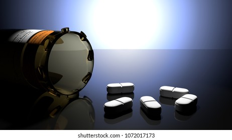 White drug pills and a yellow plastic drug bottle in a dark blue light with sharp shadows, symbolize drug problems, addiction, being sick, 3d illustration