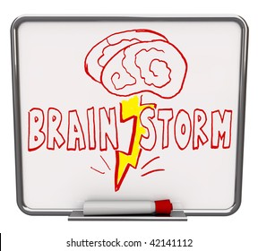 A white dry erase board with red marker, with the word Brainstorm drawn with a brain and lightning bolt