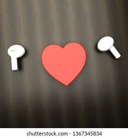 White earphones with a heart in between, 3d rendering