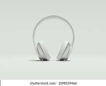 White earphones on light background, 3d renderinf